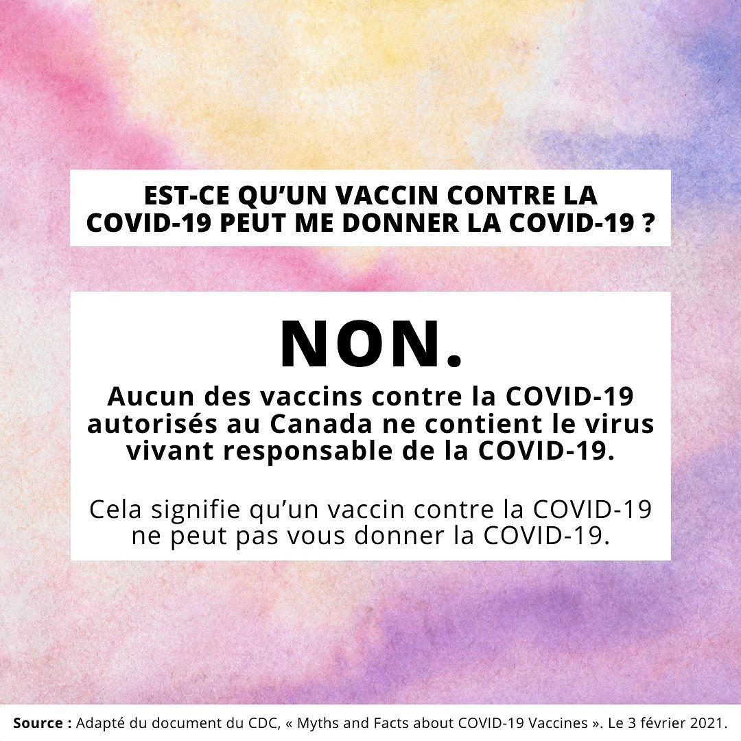 Un vaccin contre le COVID-19 peut-il me rendre malade ? Non !