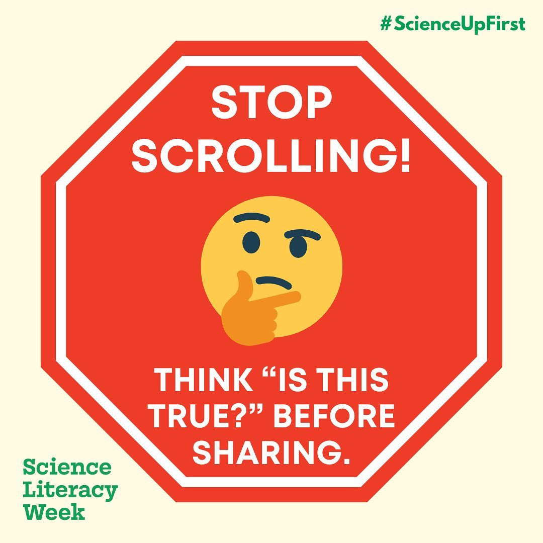 """Stop scrolling! Think """"Is this true?"""" before sharing."""